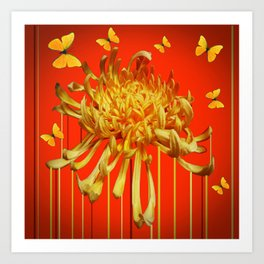 SURREAL YELLOW SPIDER MUM & BUTTERFLIES ORANGE ART Art Print