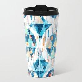 happy blue balinese ikat Travel Mug