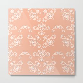 Floral Tile Design Pattern White & Peach Nougat BG Metal Print