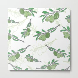 pattern with green olive branches on white background Metal Print