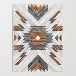 Urban Tribal Pattern No.8 - Aztec - Wood Poster