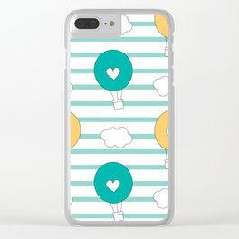 cute lovely cartoon hot air balloons pattern illustration Clear iPhone Case