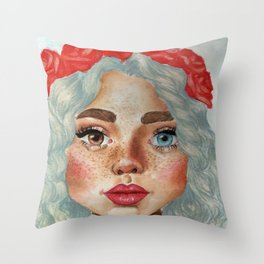 'Girl With Flower Crown' Throw Pillow