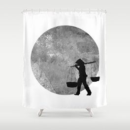Vietnamese Women Street Vendors under the Moonlight Shower Curtain