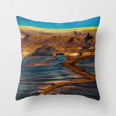 Forest Fog Travel Trees - Landscape - Grand Prismatic Spring - Yellowstone - Wyoming Throw Pillow