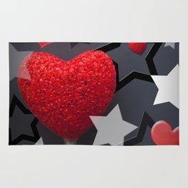 Hearts & Stars Whimsical Abstract Rug