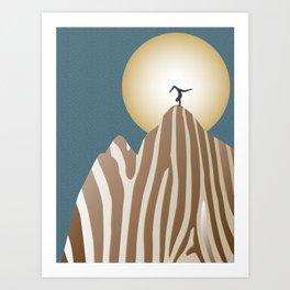 Moonlight Yoga over the Zebra Mountain Art Print