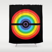pokeball Shower Curtains featuring Rainbow Pokeball by Hi 5 Graphics