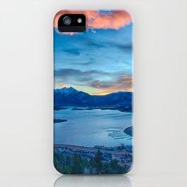 Lakeside Sunset // Mile High Rocky Mountain Orange and Blue Sky iPhone Case