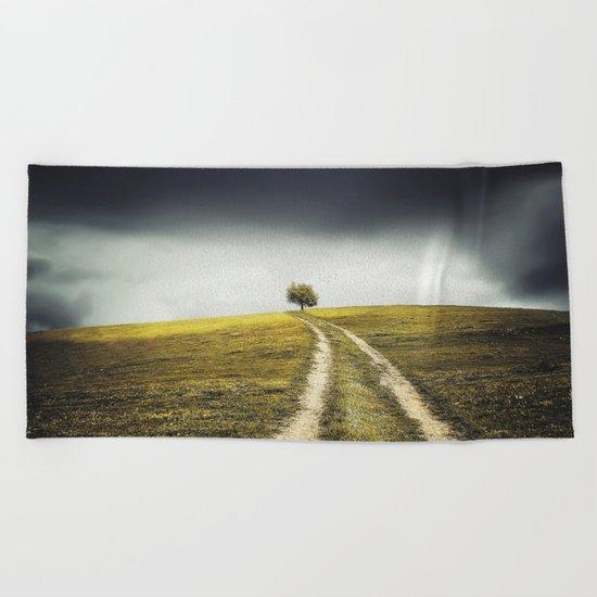 Grey sky Green tree 4 Beach Towel