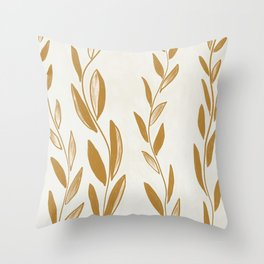 Golden leaves and stems Throw Pillow