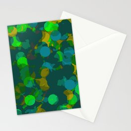 circle shape painting in green orange and blue Stationery Cards