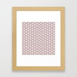 Salmon Pink Triangles on White Framed Art Print