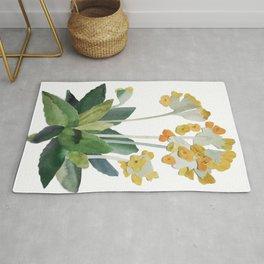 watercolor primrose yellow flower Rug