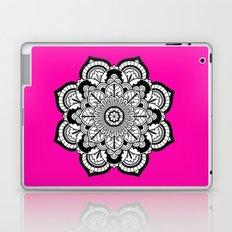 Black and White Flower in Magenta Laptop & iPad Skin