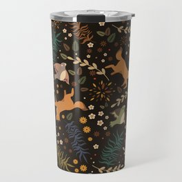 Autumn Woodsy Floral Forest Pattern With Foxes And Birds Travel Mug