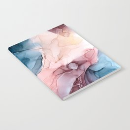 Pastel Plum, Deep Blue, Blush and Gold Abstract Painting Notebook