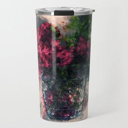Roses in a Vase Painting Travel Mug