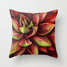Red Succulent Cactus, Blue Flame Agave Throw Pillow
