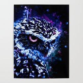 burrowing owl splatter watercolor cool blue Poster