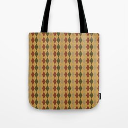 Retro Golf Jumper Argyle Print - Brown / Green / Red - Muted Autumnal / Fall Colours Tote Bag