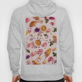 Morning coffee, croissants and a beautiful flowers Hoody