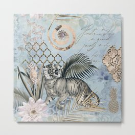 The Year Of The Tiger Pastel Blue Fantasy Mixed Media Art Metal Print