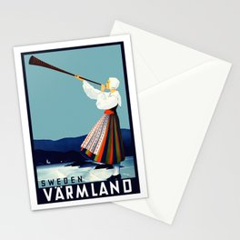 Vintage Varmland Sweden Travel Poster Stationery Cards