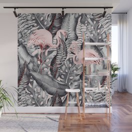 Flamingo Love - Watercolor Birds in Pink and Gray color Wall Mural