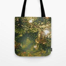 Gold Bells on Christmas Tree Tote Bag
