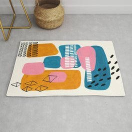 Mid Century Modern abstract Minimalist Fun Colorful Shapes Patterns Pink Teal Yellow Ochre Bubbles Rug