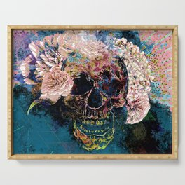 Skull Flowers - MidnightBlue Serving Tray
