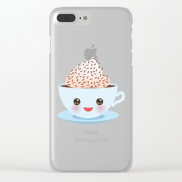 Cute blue Kawai cup, coffee with pink cheeks and winking eyes Clear iPhone Case