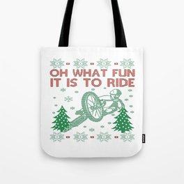 Cycling Christmas Tote Bag