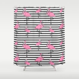 Flamingo Pattern Striped Background Shower Curtain