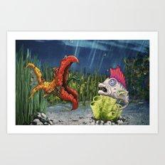 mutant and punk fish Art Print