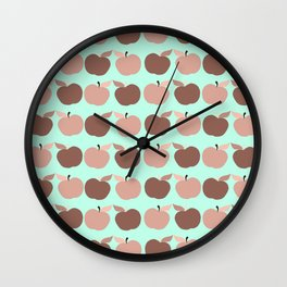 apples, apples, pretty apples pink and blue Wall Clock