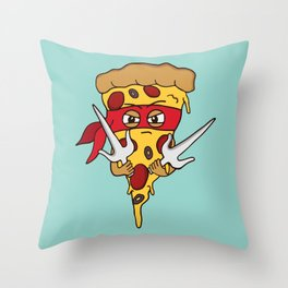 Red Ninja Pizza Throw Pillow
