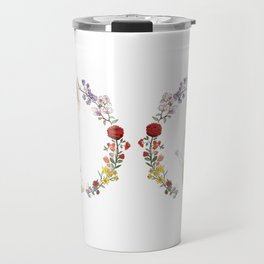 Fuku the Cat in Floral Wreath Travel Mug