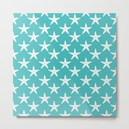 Starfishes (White & Teal Pattern) Metal Print