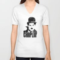 charlie chaplin V-neck T-shirts featuring Charlie Chaplin by MarcusEF
