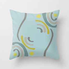 Simple Flowers in Blue Teal Yellow and Gray Throw Pillow