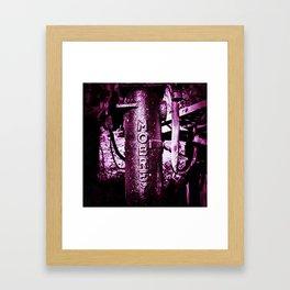 Purple, metal writing Framed Art Print
