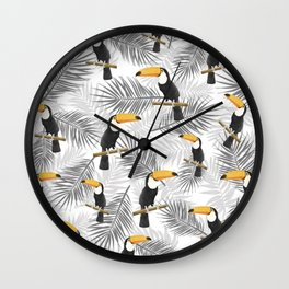 Toucan with palm leaves Wall Clock