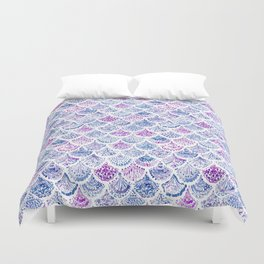 OCEAN PROTECTRESS Lavender Mermaid Scales Duvet Cover