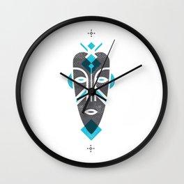 African Mask Blue Wall Clock