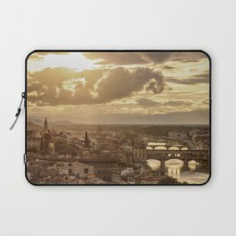 Cityscape with Ponte Vecchio and Arno River at sunset, Florence, Tuscany, Italy Laptop Sleeve