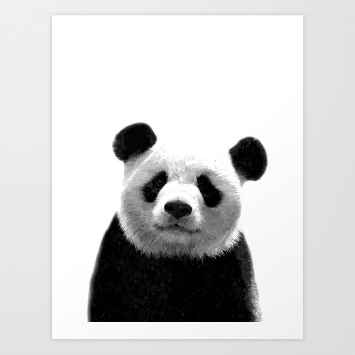 Black and white panda portrait Art Print