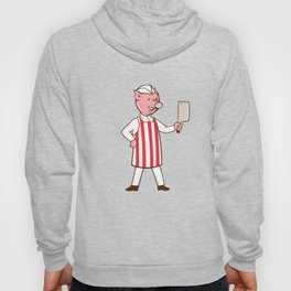 Butcher Pig Holding Meat Cleaver Crest Cartoon Hoody