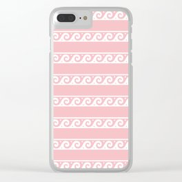 Pink and white Greek wave ornament pattern Clear iPhone Case